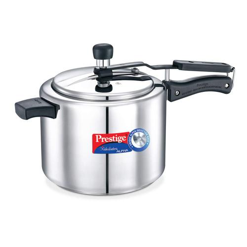 Prestige Nakshatra Induction Base Stainless Steel Pressure Cooker 5 Liters Silver