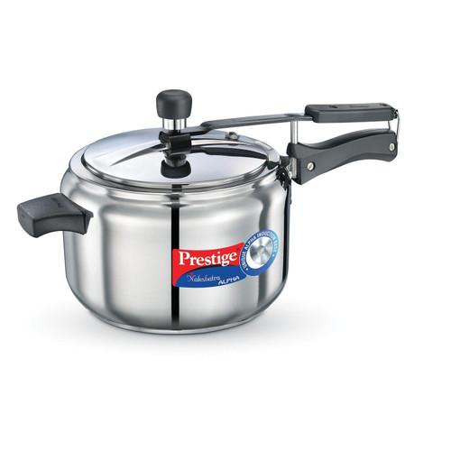 Prestige Nakshatra Alpha Stainless Steel Pressure Cooker 5 Litres Silver