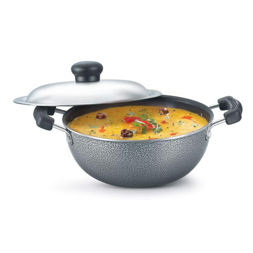 Prestige Omega Select Plus Non-Stick Flat Base Kadai with Lid 27cm Black