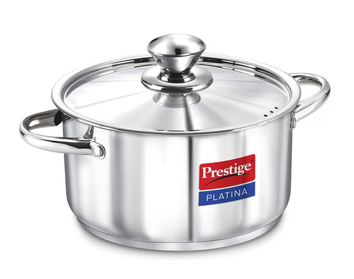 Prestige Platina Induction Base Stainless Steel Casserole 240mm 5.5 litres Metallic Steel