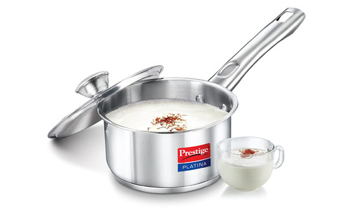 Prestige Platina Induction Base Stainless Steel Sauce Pan 140mm/1 Litre Metallic Steel