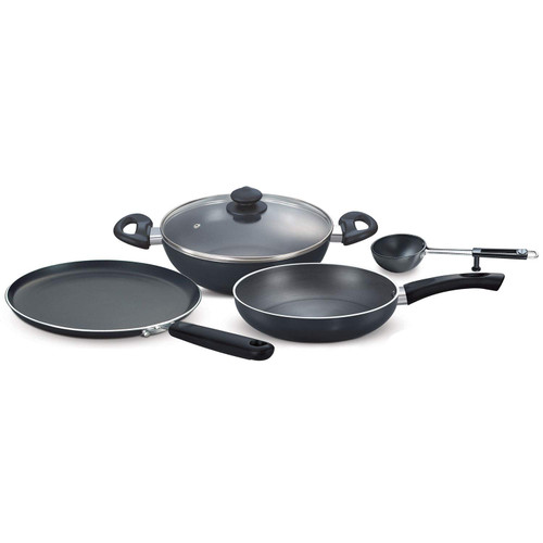 Prestige Hard Anodised Aluminium Magna Cookware Kitchen Essential Set 4-Pieces Black