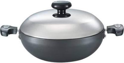 Prestige Induction Base Hard Anodised Aluminium Kadai with Lid, 300mm, Black