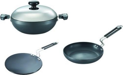 Prestige Build Your Kitchen Stainless Steel Kadhai Set, Set of 3, Black