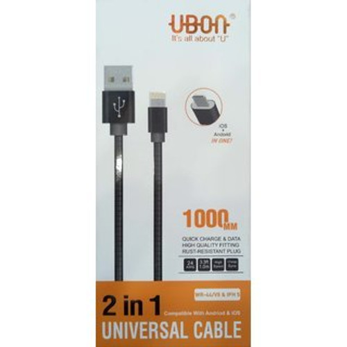 100% NEW UBON 2 IN 1 DATA CABLES FOR IOS & ANDROID QUICK CHARGING+DATA CYNC