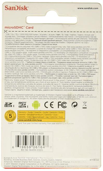 SanDisk 16GB microSDHC Flash Memory Card