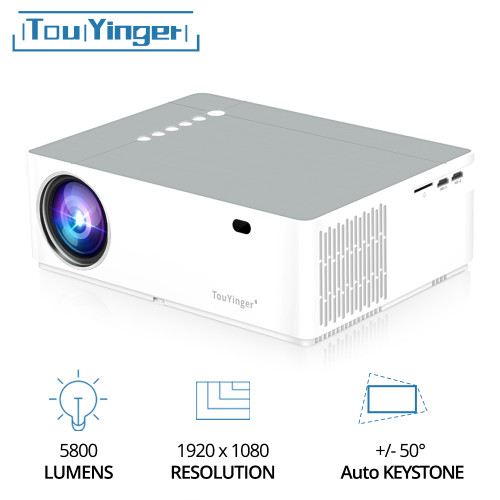 TouYinger M19 Best LED Home Theater Video Projector LED Full HD 1080P 6800lumen AC3 FHD 3D Movie Beamer HDMI USB data Projectors With 5 Functions