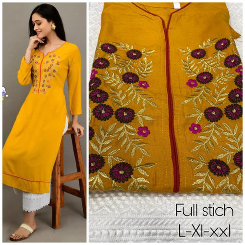 New Designer work Top Palazzo  Hot and Latest Palazzo  Kurtis-Yellow L-XL-XXL