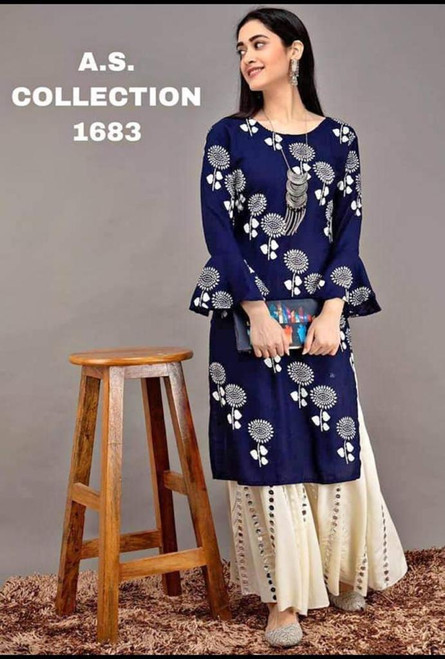 New Designer work Top Palazzo Hot and Latest Rayon Kurti With Palazzo-Blue (Size-L)