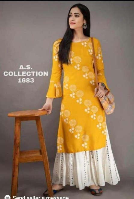 New Designer work Top Palazzo Hot and Latest Rayon Kurti With Palazzo-Yellow L,XL,XXl