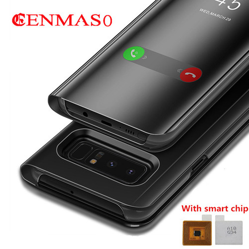 S8 plus flip cover case for Samsung Galaxy S8 Plus S8 Note 8 G950F G955F N950F flip mirror Case Smart Chip Clear View Cover