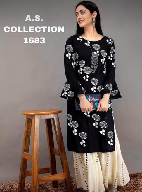 New Designer work Top Palazzo Hot and Latest Rayon Kurti With Palazzo-Black,(Size-XXL)
