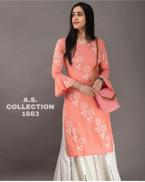 New Designer work Top Palazzo Hot and Latest Rayon Kurti With Palazzo-LightL Pink-(SIZE-XL)