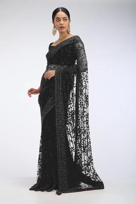 New 2021 beautiful Designer Saree on premium Net fabric with Sequence work and blouse on Benglori silk Saree-BLACK
