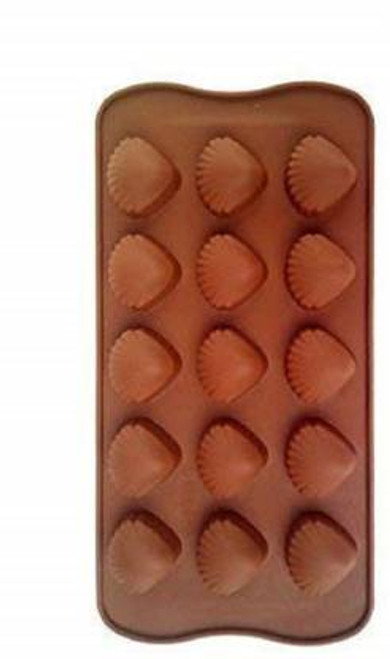 DIY Silicone Shell Shape Chocolate Making Mold, 15 Slots, Food Grade, Brown