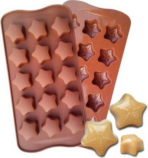 DIY Silicone Star Shape Chocolate Making Mold, 15 Slots, Food Grade, Brown