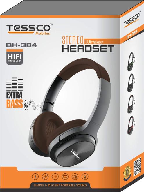 Tessco BH-384 Stereo Wireless Bluetooth Headphones Over The Ear