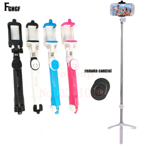 FGHGF Foldable Monopod Phone Selfie Stick Bluetooth Shutter Remote Tripod 3 in 1 Self-portrait Wireless Handheld Selfie Stick
