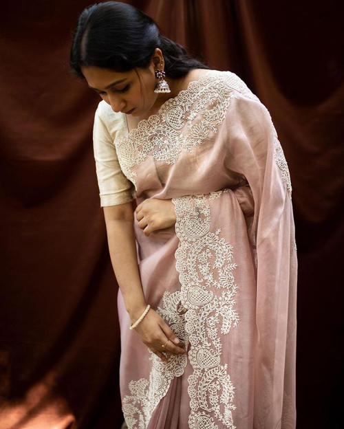 New 2021 Beautiful Soft Pure Organza Embroidery Sarees For Your Upcoming Festivals-Beige