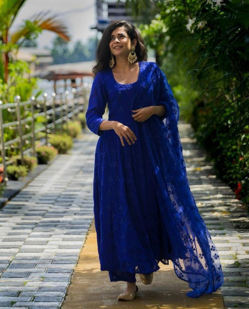 New 2021 Presenting Heavy Georgette With Embroidery Chane Work Dress-Blue