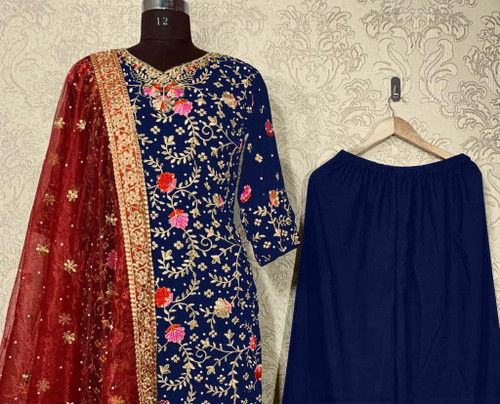 Presenting New 2021 Dress Kurti Palazzo With Dupatta - Blue