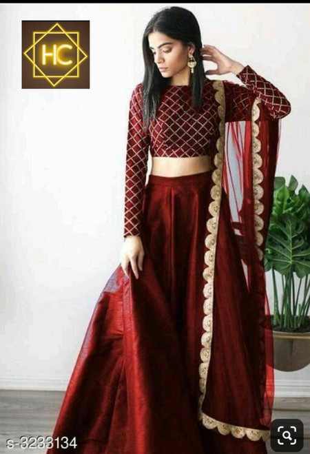 New 2021 Presenting Beautiful Full Stitched Silk Lehenga With Embroidery Work Stitched Blouse With Dupatta Choli (RED)