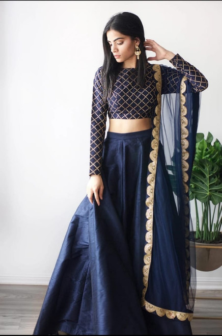 New 2021 Presenting Beautiful Full Stitched Silk Lehenga With Embroidery Work Stitched Blouse With Dupatta Choli (Blue)