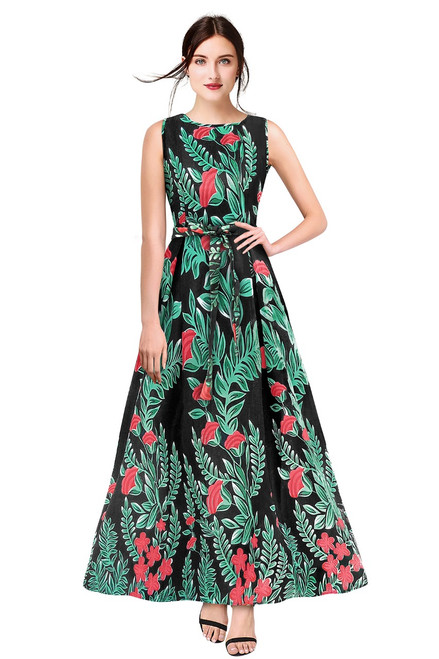 New 2021 Designer Printed Western Maxi Gown-Black (Size-L)
