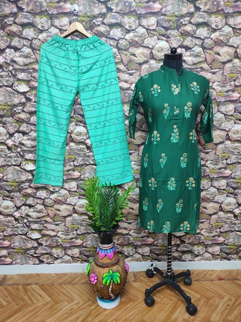 Presenting Heavy Rayon Cotton with Rich Print Green Kurti (Size-XXL)