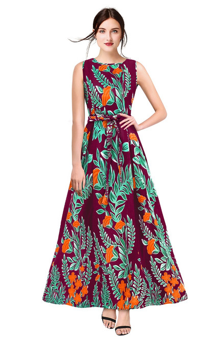 New 2021 Designer Printed Western Maxi Gown-Purple(Size-XL)