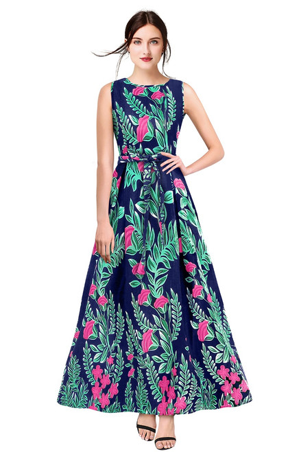 New 2021 Designer Printed Western Maxi Gown-Blue (Size-M)