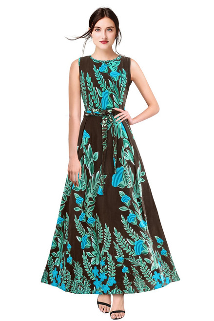 New 2021 Designer Printed Western Maxi Gown-Brown (Size-S)