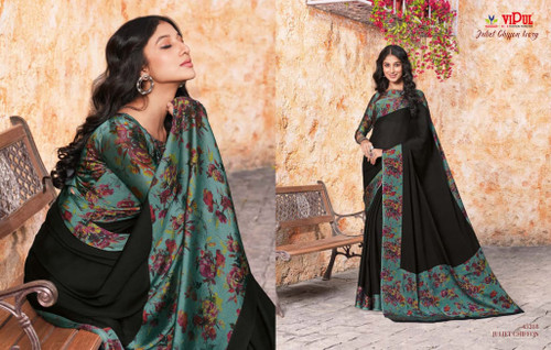 New 2021 Black Juliet Chiffon Material Saree