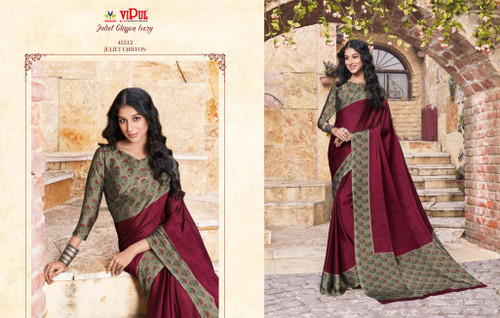 New 2021 Black Juliet Chiffon Material Saree-Wine Red