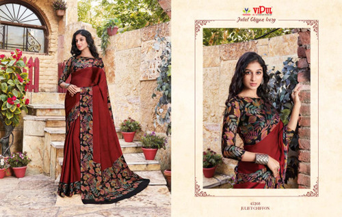 New 2021 Juliet Chiffon Material Saree-Red