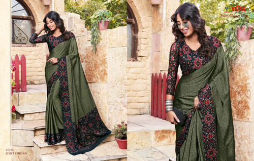 New 2021 Juliet Chiffon Material Saree-Dark Green