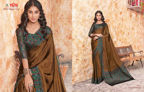 New 2021 Juliet Chiffon Material Saree-Dark Brown