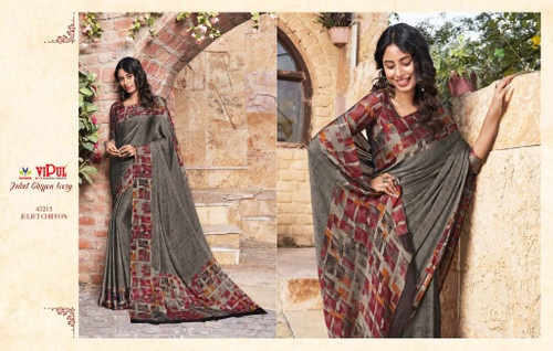 New 2021 Juliet Chiffon Material Saree-Dark Gray