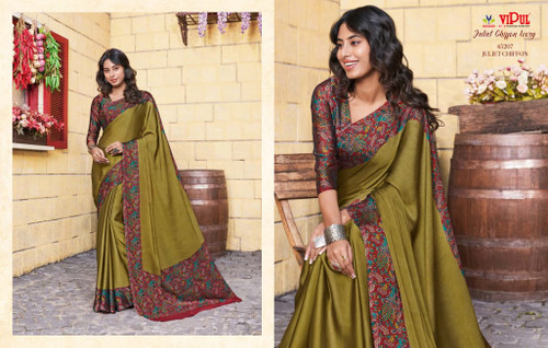 New 2021 Juliet Chiffon Material Saree-Mehdi colour