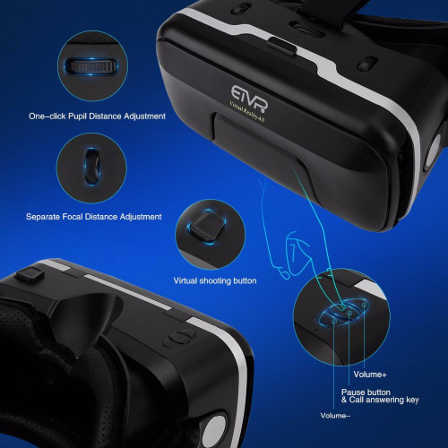 ETVR VR Box 3D Glasses Virtual Reality Helmet 4.0 Stereo Headphones Adjustable Straps Glasses 3D for IOS/Android 4.7-6.0 Inch