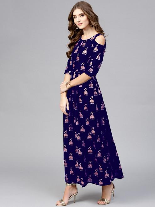 New 2021 Designer Party Wear Digital Printed Crap Silk Blue Gown (Size-XXL)