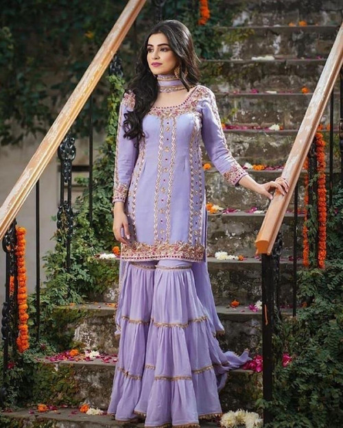 Presenting 2021 Georgette with Embroidery Work Full Sleeves Sky Blue Top with Sarara Palazzo