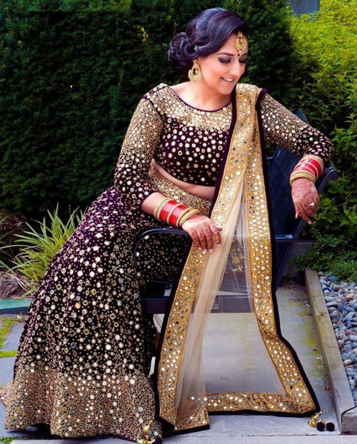 Festive Season Special Bridal Wine Velvet Full Heavy Embroidery Lehenga Choli Set with Real Mirror Work
