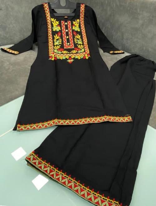 New 2021 Good Quality Rayon Fabric Black Kurti with Palazzo (Size-L-40)