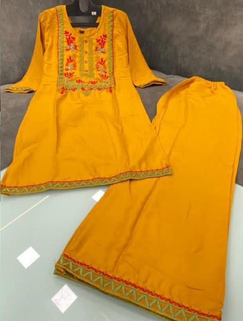 New 2021 Good Quality Rayon Fabric Orange Kurti with Palazzo (Size-M-38)