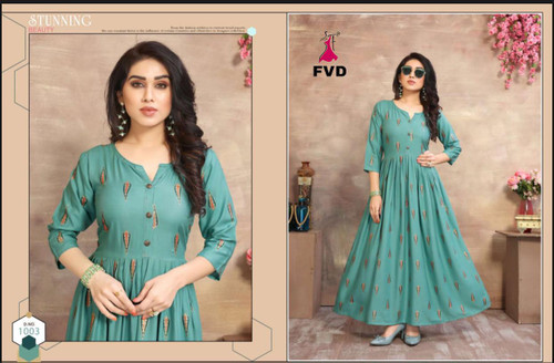 New 2021 Presenting Designer Long Rayon Gown-Sky Blue (Size-XXL)