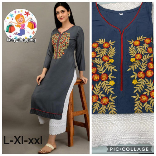 Presenting New 2021 Hot and Latest Gray Kurti and Palazzo (Size-L)