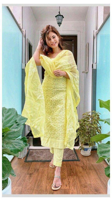 New 2021 Chine Stich Work Light Yellow Cotton Top with Lehenga and Dupatta