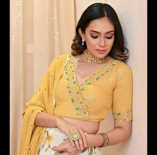 New 2021 Designer Embroidery Party Wear Golden Lehenga Choli