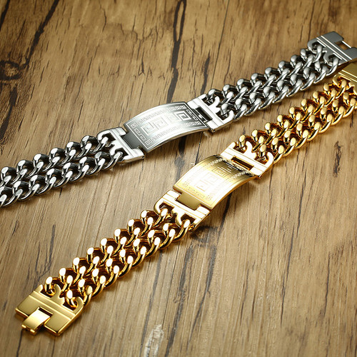 Men's Greece Key ID Tag Bracelet for Men Stainless Steel Male Double Cuba Chain Bangles Bileklik Hiphop Jewelry Bold and Chunky